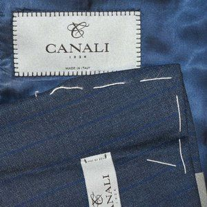 NWT $1795 44L Canali 1934 Current Blue Stripe COAT